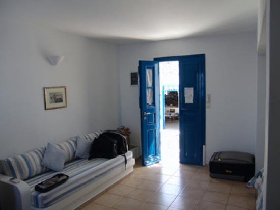Anemomilos Apartments : The Interior of our room looking towards the streetside terrace.