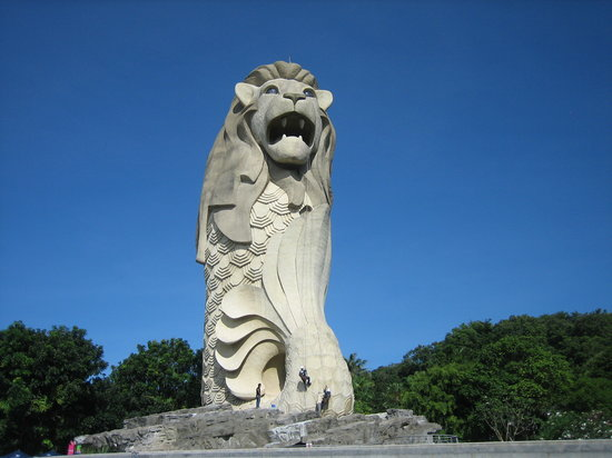 Marina Bay, สิงคโปร์: Famous Merlion statue on Sentosa Island