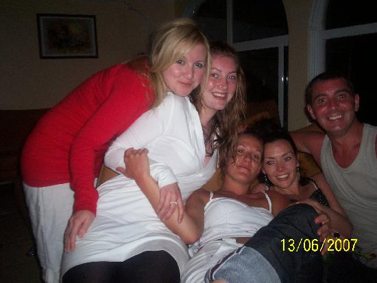 Hotel Dolphin: Hayley, Laura, Me, Kelly and Martin after a drunken night