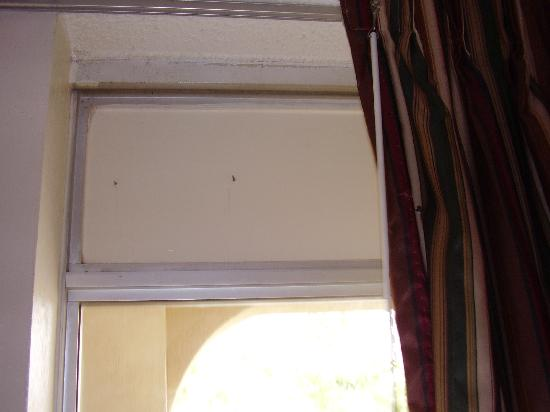 Days Inn Silver Spring: screws through transom and curtain spoke of poor maintenance