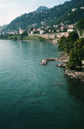 Montreux, Suisse : View of swimming area from Chateau de Chillon
