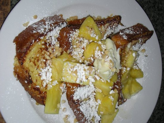 Kalaheo Cafe & Coffee Company: Sweet Bread French Toast topped with Pineapple, Powdered Sugar & Macadamia Nuts