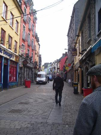 Barnacles Hostel Galway: high street really early, more of a cround later in the day