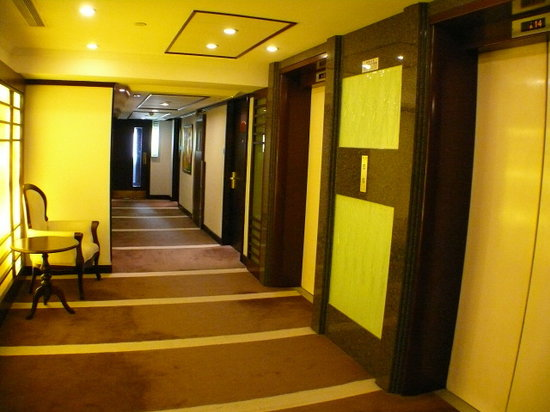 Nathan Hotel: Two elevator doors on the right.  Our room  is  the door after the second elevator door.