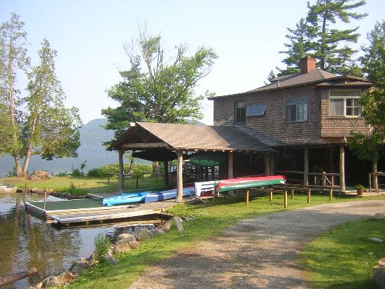 The Hedges: The Main Lodge and canoes and kayaks for guest use
