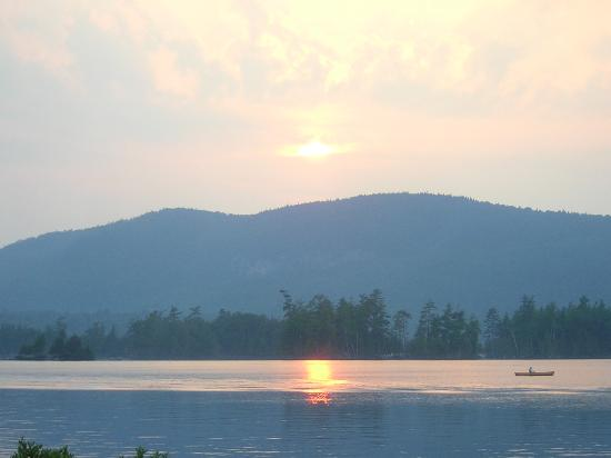 Sunset view over Blue Mountain Lake from the Hedges