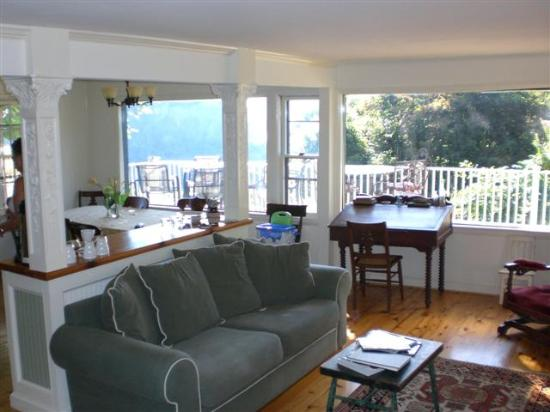 The Ledge House Bed and Breakfast : View from the Living Room with Fireplace