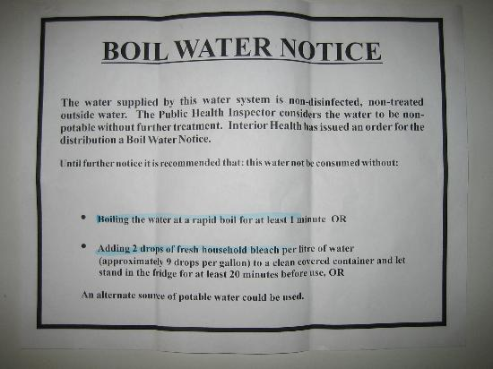 Canyon Hot Springs: Boil Water Notice