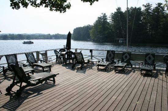 Winnisquam, NH: deck overlooking the lake