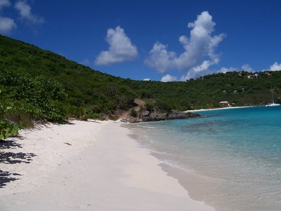 Jost Van Dyke: View towards the Pink House (taken from the soggy dollar end of the bay)
