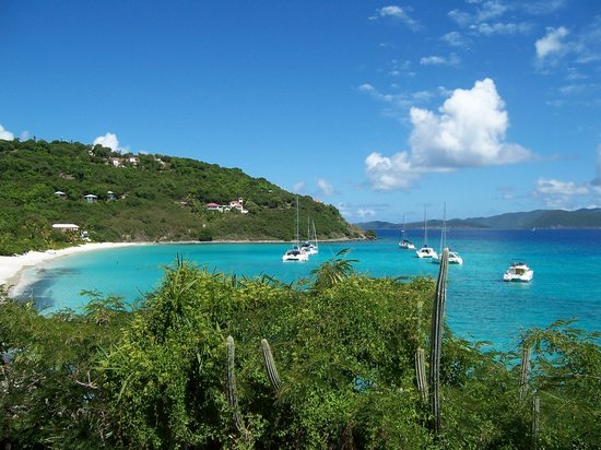 Jost Van Dyke: View of White Bay, taken from the top of the hill between Sandcastle and Pink House