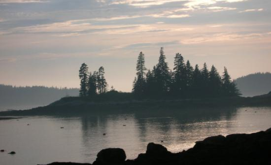 Vinalhaven, ME: Sun setting off of Granite Island