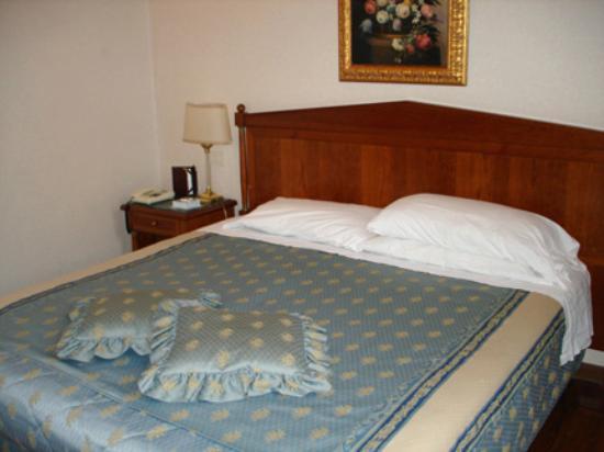 Antica Locanda Leonardo : blue bedspread