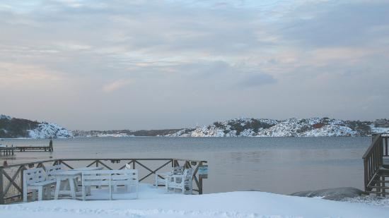 Nösund Havshotell: Early morning looking out at the ocean
