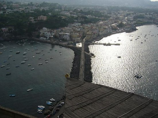 looking down at the bridge towards Ischia