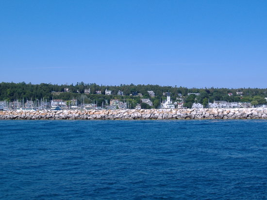 Mackinac Island, MI: View across breakwater of east side of town
