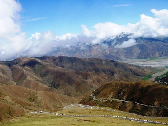 Tibet, China: Winding Mt Road