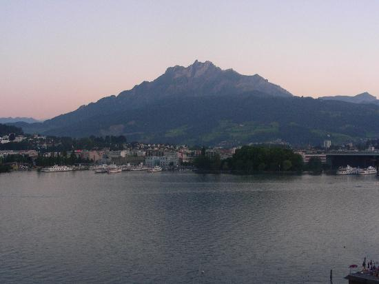 Palace Luzern: Room view at dusk