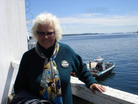 Sidney Whale Watching: Mom with Zodiak boat in background