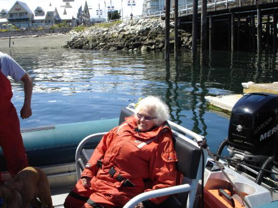 Sidney Whale Watching: Mom on board (with Jeff's help!)