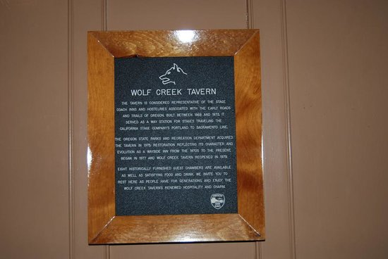 Sign at the Wolf Creek Inn