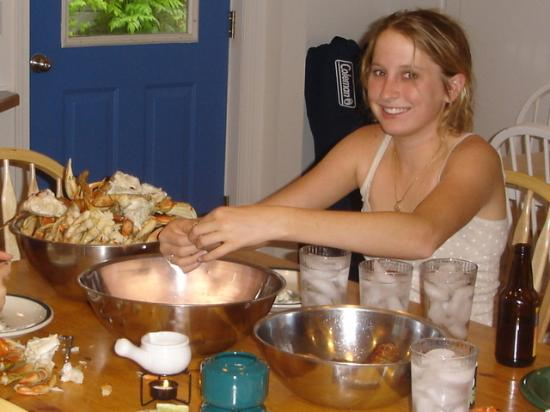 Waterfront Bed & Breakfast: Michelle 14, enjoying crabs cooked by Sammy & Leroy