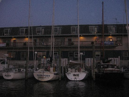 Old Harbor Inn: View of hotel from Water Waltz Charter Boat