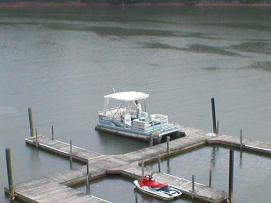 Westlake Waterfront Inn: The pontoon we rented from Indian Pointe Bait and Tackle