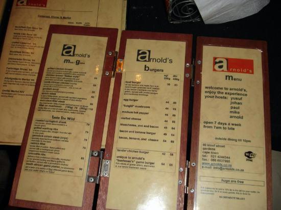 An African Villa: Arnold's menu