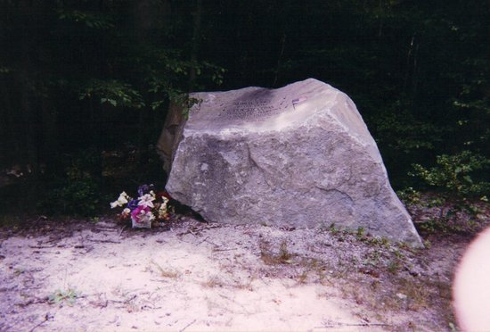 Camden, TN: Closeup of rock memorial on actual crash site.