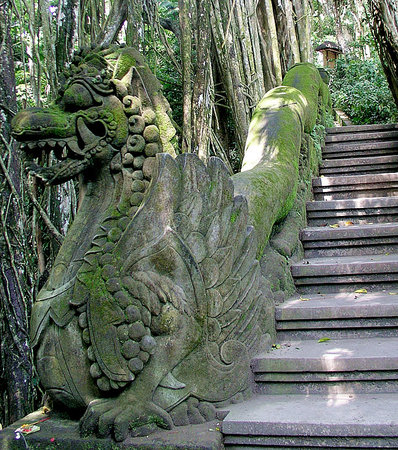 Ubud, Indonesia: Carved komodo dragons help guard the springs.