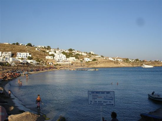Platys Gialos, Grèce : View of the bay in front of the Mykonos Palace