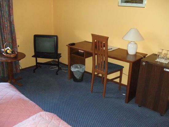 Park Hotel: Television and desk.