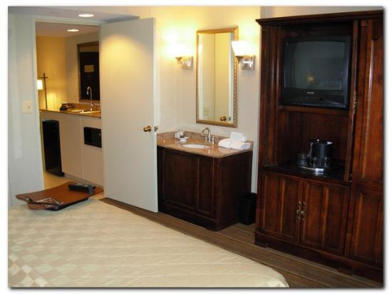 Embassy Suites by Hilton Parsippany: Bedroom TV and sink