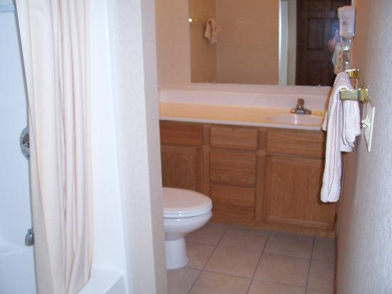 Gatlinburg Town Village: spacious bathroom, blow dryer, closet, laundry basket, iron, iron board