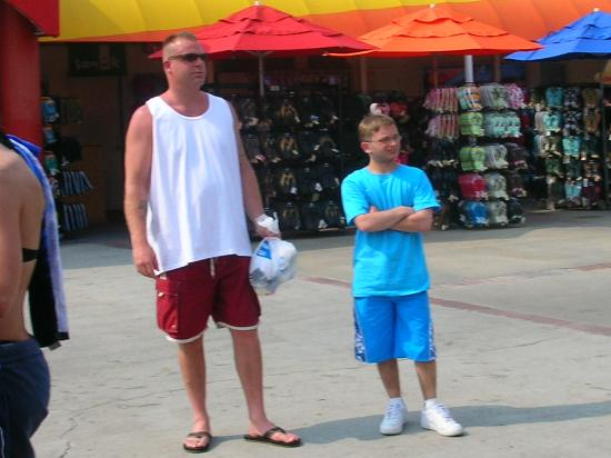 Wet 'n Wild : My husband and son checking out the girls... ;-)