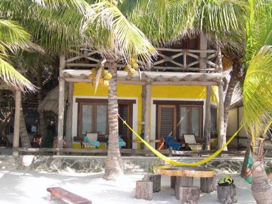 Holbox Hotel Mawimbi: Looking onto the porch of our room from the beach