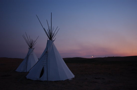 Browning, MT: tipi village at sunset