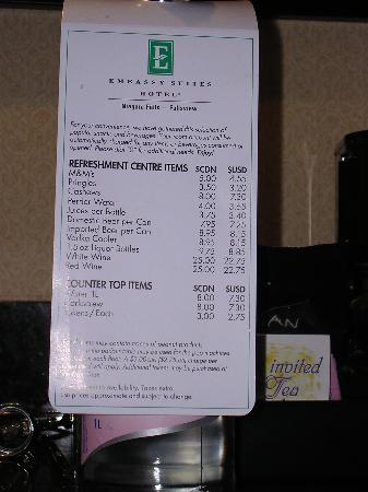 Emby Suites By Hilton Niagara Falls Fallsview Hotel Price List To Mini Bar