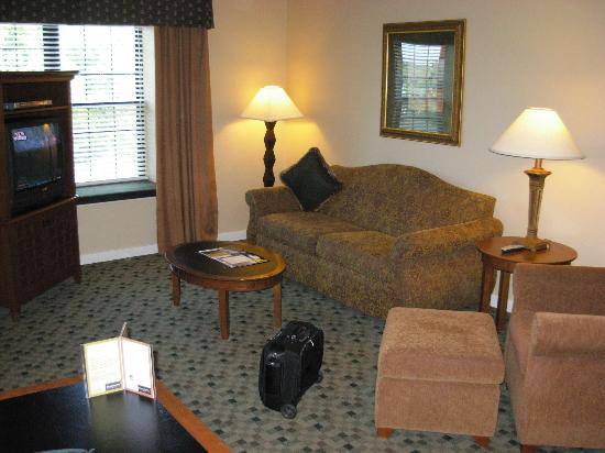HYATT house Parsippany-East: Living area - notice the large windows with low sill that lend an airy feeling.