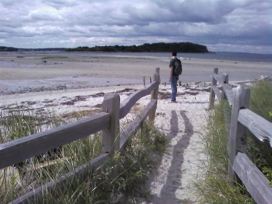 Chebeague Orchard Inn Bed and Breakfast: Walking across the sand bar at low tide to reach Little Chebeague Island