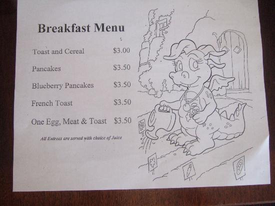 White Mountain Hotel and Resort: Kids breakfast menu