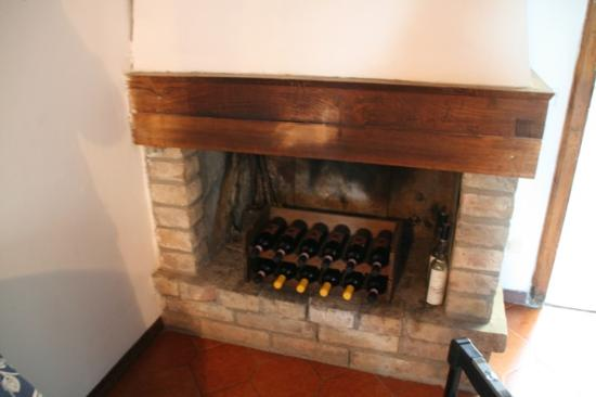 Fattoria Bacio: Fireplace and Wines
