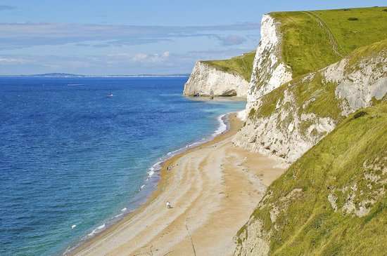 Dorset, UK: limestone cliffs on a sunny day