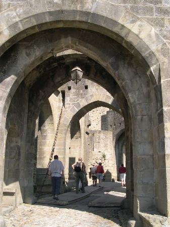 Carcassonne Center, France : Over the draw bridge
