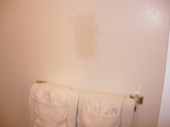 Indian Hills Inn : Dirty, unpainted section of bathroom wall