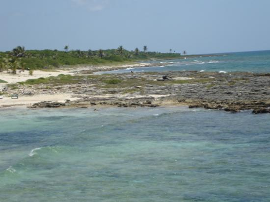 Beautiful rocky shoreline at Costa Maya