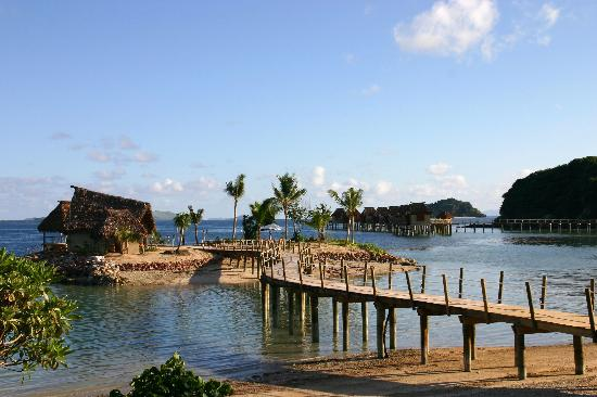 Likuliku Lagoon Resort: view of Masima Island & overwater bungalows from restaurant