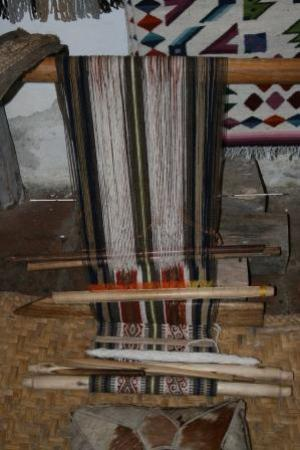 Otavalo, Ecuador: Miguel Andrango's back strap loom -- this is about a week's worth of work.