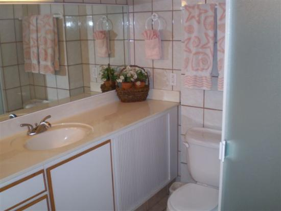 Haleakala Shores Condos: Both huge bathrooms have double sinks, a shower, vaulted ceiling w/ceiling fan...